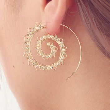 Swirl Hoop Gypsy Tribal Ethnic Earrings Boho Earrings for Women Jewelry