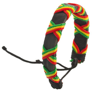 Rasta Cross Wrap Bracelet