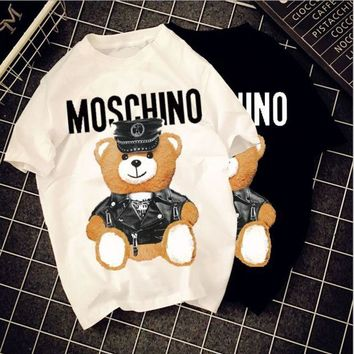 ONETOW Moschino cartoon letter leather bear couple men and women models cotton tee summer tide brand short sleeve t-shirt tide