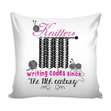 Funny Knitting Graphic Pillow Cover Knitters Writing Codes Since The 11th Century
