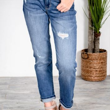 Boyfriend Fit Medium Wash Denim