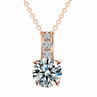 Rose-Gold/Silver Plated Crystal Pendant Necklace Women Jewelry Love
