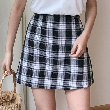 Women's Skirts Japan Punk Kawaii Ulzzang Retro Summer High Waist College Slim Skirt Female Korean Harajuku Cute Button For Women