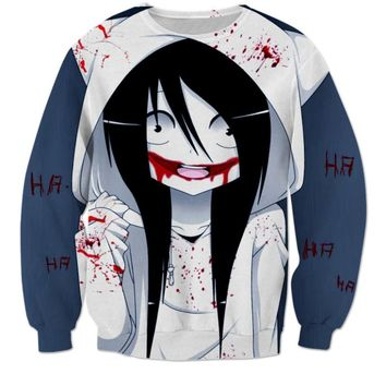 Autumn New Women/Men Sweatshirt jeff the killer girl Hoody Design 3d Print Harajuku Jumper Pullovers Clothing Hoodies S-6XL W71