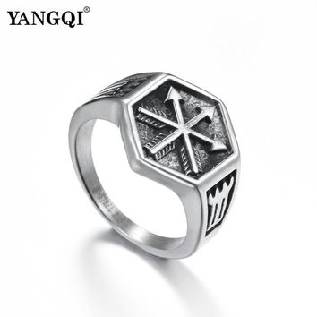 YANGQI Norse Viking Arrow Symbol Hexagon Ring for Men Antique Silver Color Punk Biker Jewelry Geometric Sexangle Rings Jewelry