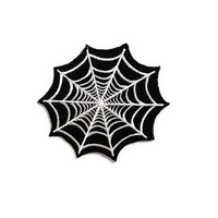 Spider Web Black Patch New Iron On Patch Embroidered Applique Size 8.2cm.x7.4cm.