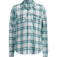 Full Tilt Plaid Girls Boyfriend Flannel Shirt Blue Combo  In Sizes