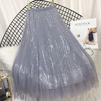 ONLYWONG Spring Summer Skirts Women Korea Long Tulle Skirt Sequined Pleated A Line Midi Skirt Chic High Waist Skirt Female