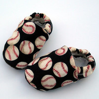 Baseball Baby Shoes in Navy Blue- Handmade with Organic Bamboo lining- Size O 3 6 12 months