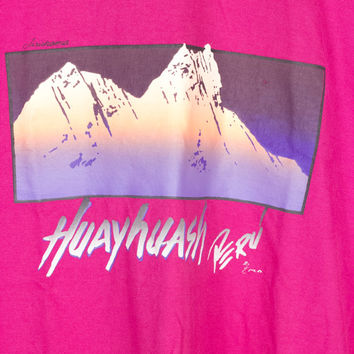 90s HUAYHUASH PERU tee / vintage 1990s shirt / vaporwave / mountains / pink / pastel woodblock print / soft / travel / purple