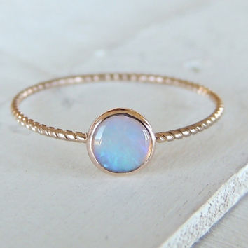 Opal Ring, Opal Gold Ring, Glowing Opal Ring, 14k Gold Ring, Nautical Ring, Stacking Ring, Rose Gold Ring, Christmas Gift, Engagement Ring