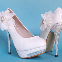 White Party Queen Glitter High Heel Platform Lace Flower Women Wedding Shoes