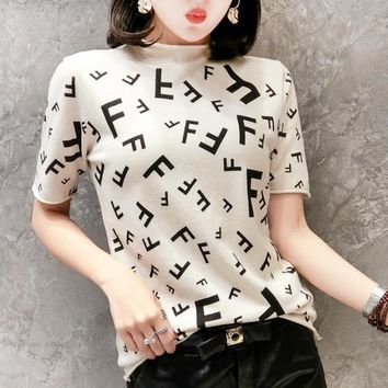 Fendi Fashion New More Letter Print Half High Collar Top Women Apricot
