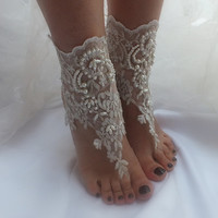 free ship ---- bridal anklet, ivory lace anklet, Beach wedding barefoot sandals, bangle, wedding anklet, anklet, bridal, wedding
