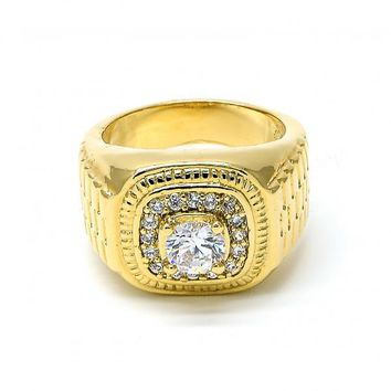 Gold Layered Mens Ring, with Cubic Zirconia, Golden Tone