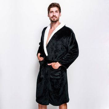 Winter coral velvet Keep warm couples robes exquisite bathrobes for male long-sleeved male dressing gown SPA sheer mens robes