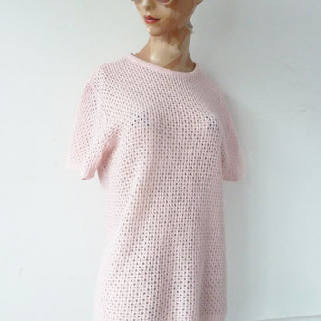50s ORLON knitted top . pink . short sleeves . made in the uk . st michael . festival . hipster