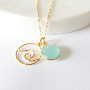 Wave Charm Necklace