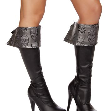 Roma RM-4572B Skull Embroidered Boot Cuffs