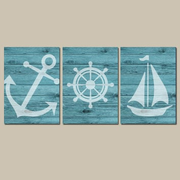 Nautical Wall Art CANVAS or Prints Wood Effect Background Boy Nursery Bathroom Decor Turquoise Ocean Anchor Boat Wheel Pick Colors Set of 3