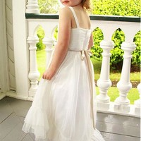 [53.99] Lovely Organza Spaghetti Straps Neckline A-line Flower Girl Dresses With Belt - dressilyme.com
