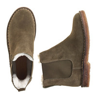Boys Suede Shearling-Lined Chelsea Boots