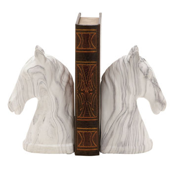 "Outstanding Ceramic Marble Finish Bookend Pair 4""W 8""H"