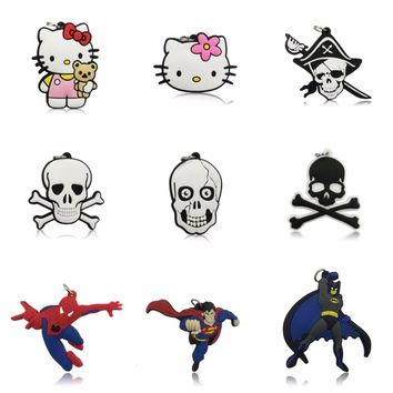 1PCS Hello Kitty PVC Cartoon Pendant Kids Anime Skull Pendants Fit for Key chain & Necklace Party Favor Supplies Children Gift