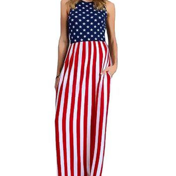 HItmebox 2018 Sexy New Womens Sleeveless Slim Fitting USA American Flag Print Strips Summer Casual Beach Party Long Maxi Dress