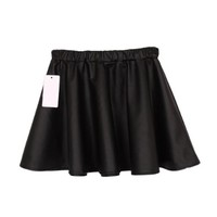 Women's Pu Leather Ruffle Mini Skirt Black with Elastic Waist