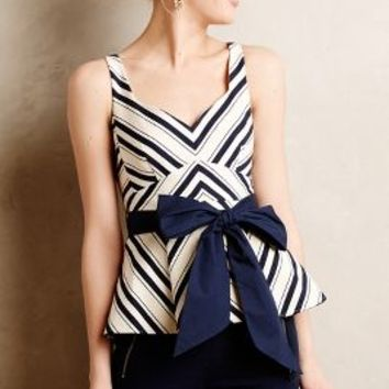 Mitered Stripe Peplum Top by Maeve Neutral Motif