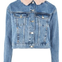 MOTO Faux Fur Denim Jacket - Clothing