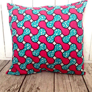 African Throw-pillow, African wax print, Pink and Blue Throw pillow cover  (17 inch) throw pillow