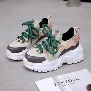 Stylish Height Increasing 6 CM Women Running Shoes Luxury Brand Thick Sole Sneakers Chunky Sport Shoes Woman Chaussures Femme