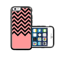 RCGrafix Brand Coral-Black-Chevron iPhone 6 Case - Fits NEW Apple iPhone 6