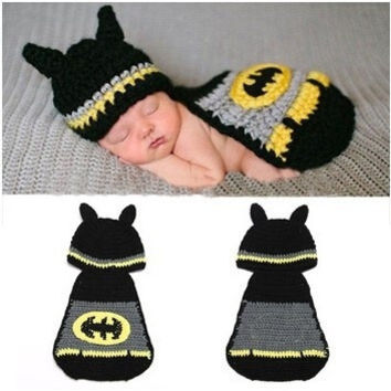 Hot Sale Unisex Cute Kintted Hand Crochet Baby Photography Props Newborn BATMAN Hat and Cover Set Infant Animal  Hats = 1927920644