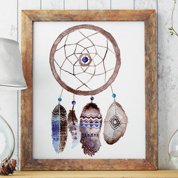 Boho dreamcatcher | Watercolor feathers | Native americans art | Printable | Hippie art | Wall decor | Poster on sale | Instant download