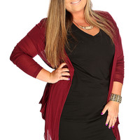 Burgundy Long sleeves Open Front Plus Size Cardigan