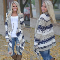 Fashion long-sleeved knit cardigan sweater