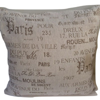 Paris is Grand:Vintage French Country Cotton Linen Pillow