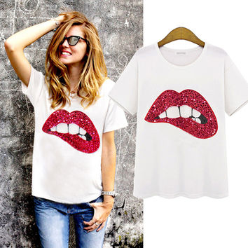 31a07f65ab68 Fashion Casual Lips Manual Sequin Short Sleeve Round Neck Cotton