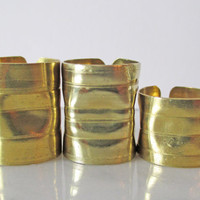 """Unique Ring Wide Gold Ring Band Cigar Band Statement """"Crush Cuff"""": Midi Above Knuckle Modernist Modern Sculptural Bold Artisan Ring Set"""
