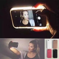 Hot LED Light selfie Phone Case for Iphone 5 5S SE 6 6s 6 Plus 6s Plus Case Light Selfie Led Cover 5 colors + Free Gift Box+Free Shipping