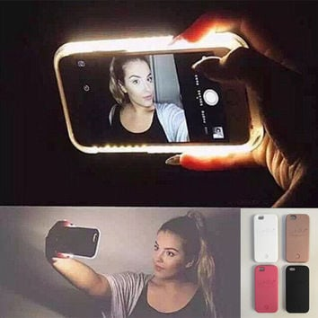 Hot LED Light selfie Phone Case for Iphone 7 7 Plus 5 5S SE 6 6s 6 Plus 6s Plus Case Light Selfie Led Cover 5 colors + Free Gift Box+Free Shipping