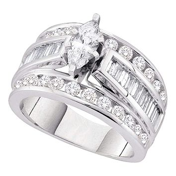 14k White Gold Marquise Diamond Women's EGL Certified Bridal Wedding Engagement Ring 3.00 Cttw - FREE Shipping (US/CAN)