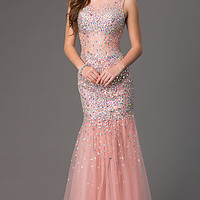 Floor Length Sequin Embellished Prom Dress