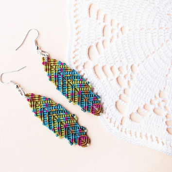 Micro macrame earrings - Colorful Feather Boho Unique