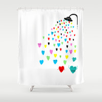 Love shower Shower Curtain by Villaraco
