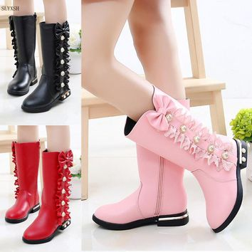2018 Autumn Winter New Children Boots Girls PU Leather Boots Fashion Martin Boots High Children Princess Girls Shoes Size 27-37
