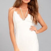 Slice of Heaven White Lace Bodycon Dress